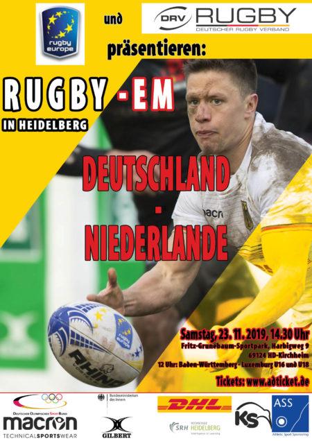 Rugby Europe und DRV präsentieren: RUGBY-EM IN HEIDELBERG DEUTSCHLAND - NIEDERLANDE